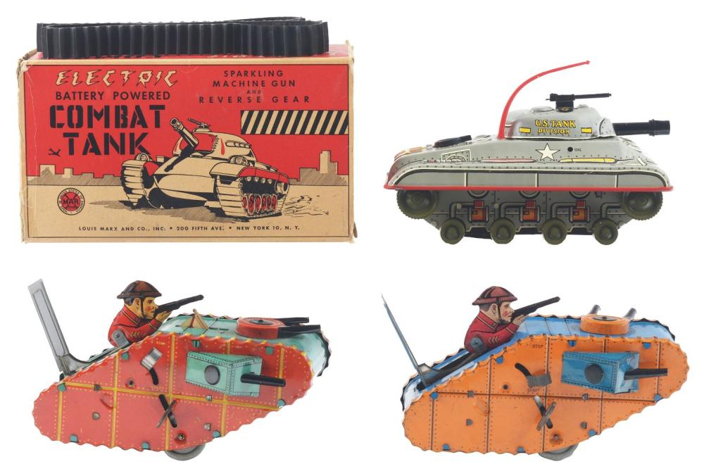Lot 2375: Lot of 3: Marx Tin-Litho & Plastic Wind-Up Tank Toys.