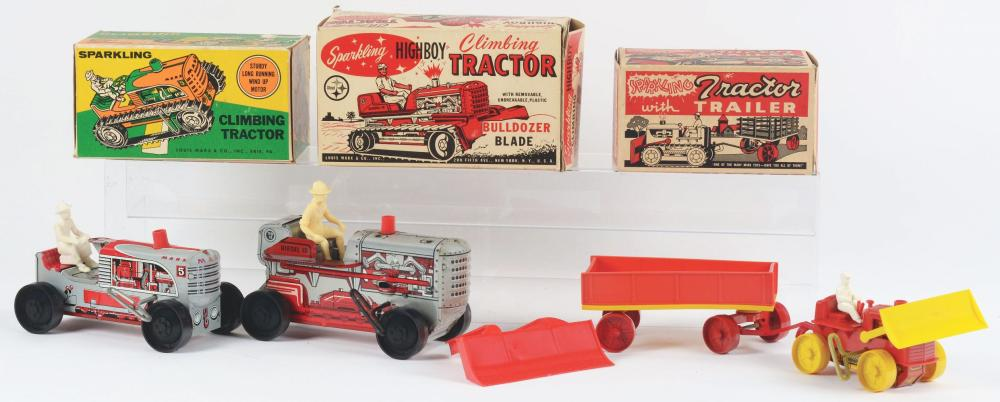 Lot 2379: Lot of 3: Marx Tin-Litho Wind-Up Tractor Toys.