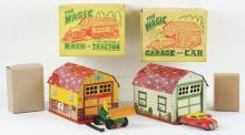 Lot 2380: Lot of 2: Marx Tin-Litho & Plastic Magic Barn & Garage Sets.