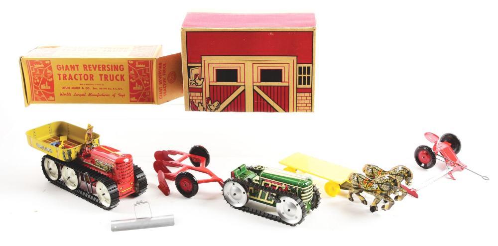 Lot 2391: Lot of 2: Marx Tin-Litho & Plastic Farm Toys.