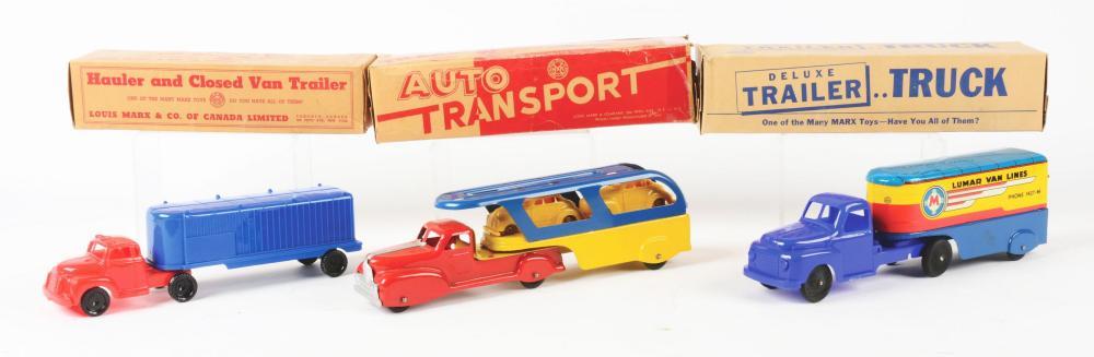Lot 2390: Lot of 3: Marx Tin-Litho & Plastic Tractor-Trailer Trucks.