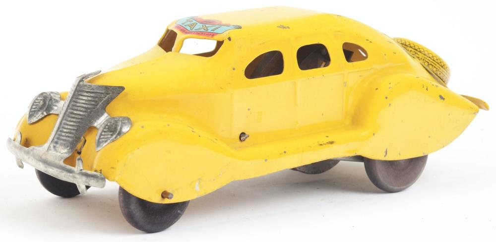 Lot 2384: Very Scarce Pressed Steel Marx Taxi Automobile Toy.