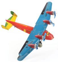 Lot 2385: Marx Tin-Litho Wind-Up 4-Motored U.S. Mail Biplane.