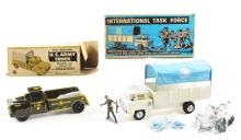 Lot 2395: Lot of 2: Marx Tin-Litho & Pressed Steel Army Truck Sets.