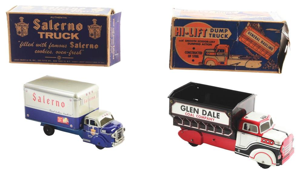 Lot 2396: Lot of 2: Marx Pressed Steel & Tin-Litho Box & Dump Trucks.