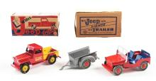 Lot 2397: Lot of 2: Marx Pressed Steel Willy's Jeep Toys.