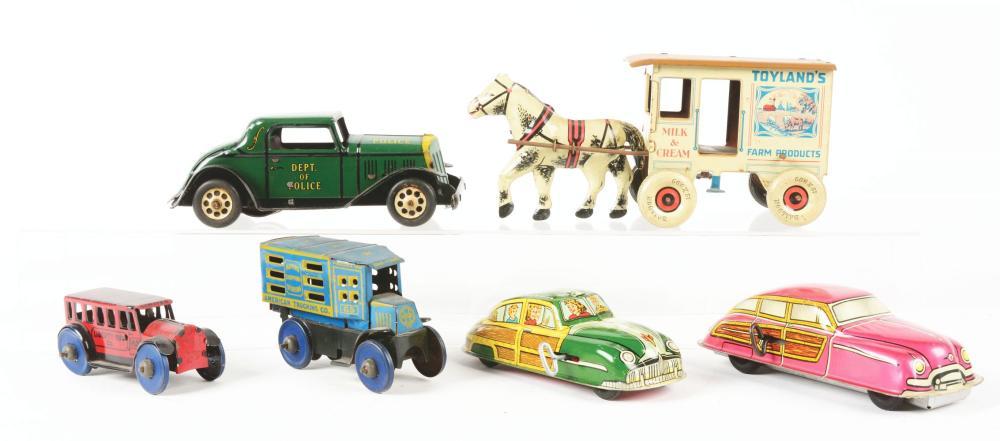 Lot 2402: Lot of 6: Marx Tin-Litho & Friction Vehicle Toys.