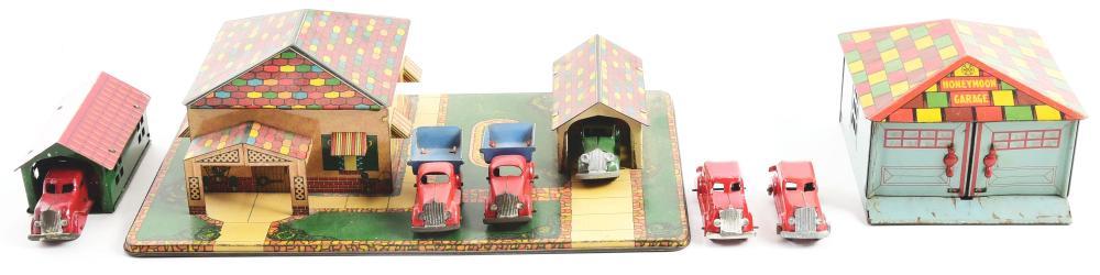 Lot 2401: Lot of 3: Pressed Steel & Tin-Litho Marx Garage Sets.