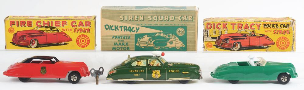 Lot 2406: Lot of 3: Marx Dick Tracy & Fire Chief Automobiles.