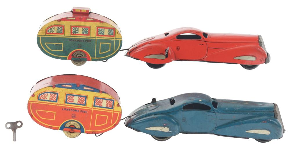 Lot 2410: Lot of 2: Marx Tin-Litho Wind-Up Lonesome Pine Car Sets.