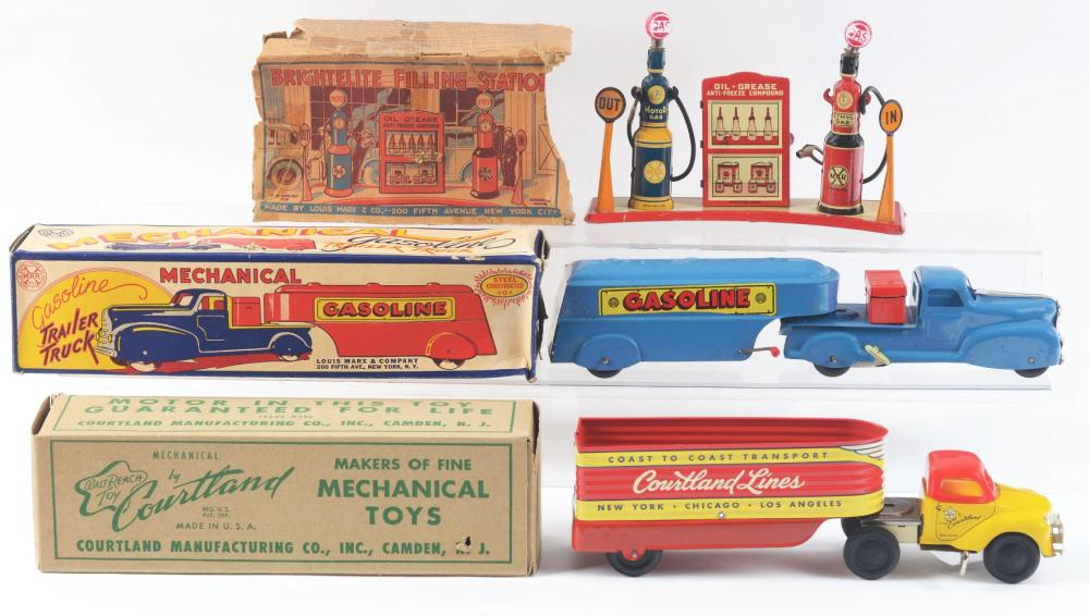 Lot 2409: Lot of 3: American Made Tin-Litho Gas Related Toys.