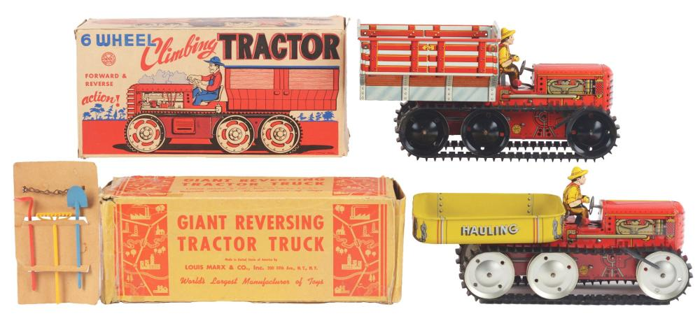 Lot 2411: Lot of 2: Marx Tin-Litho Wind-Up Tractor Toys.
