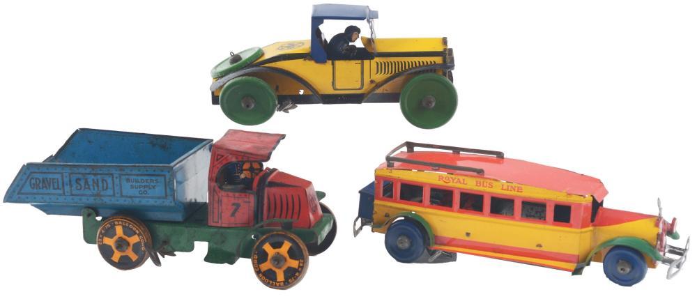 Lot 2418: Lot of 3: Marx Tin-Litho Pre-War Wind-Up Transportation Toys.