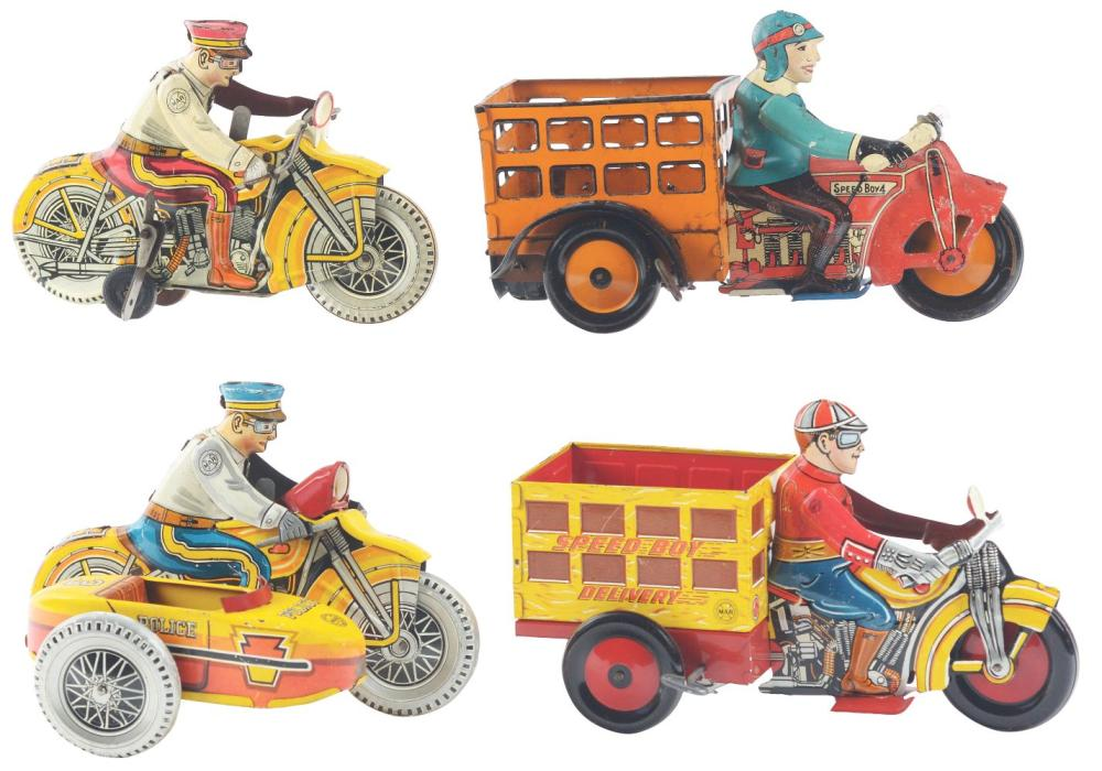 Lot 2419: Lot of 4: Marx Tin-Litho Wind-Up Motorcycles.