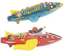 Lot 2413: Lot of 2: Marx Tin-Litho Wind-Up Rocket Fighter Toys.