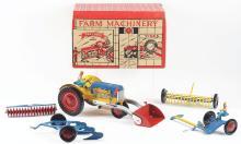 Lot 2420: Lot of 2: Marx Pressed Metal Tractor Farm Sets.