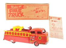Lot 2426: Marx Pressed Steel Ride-Er Fire Truck Toy.