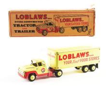 Lot 2428: Pressed Steel Marx Loblaws Tractor & Trailer Box Truck.
