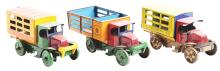 Lot 2430: Lot of 3: Early Marx Tin-Litho Wind-Up Commercial Truck Toys.