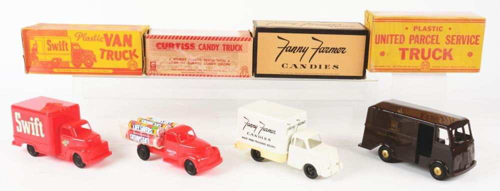 Lot 2434: Lot of 4: Marx Commercial Vehicle Toys.