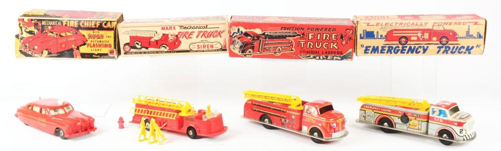 Lot 2433: Lot of 4: Marx Tin-Litho & Plastic Fire Truck Related Toys.