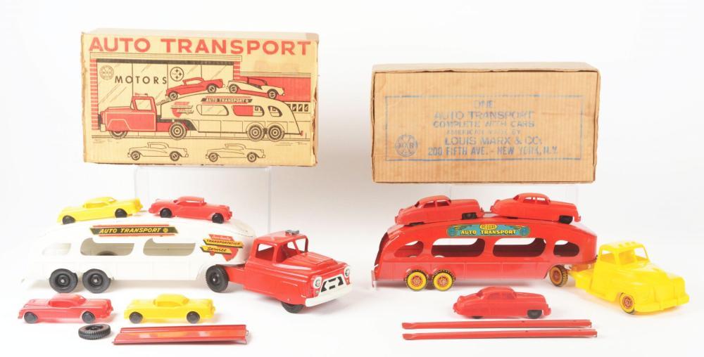 Lot 2440: Lot of 2: Marx Pressed Steel Auto Transport Toys.