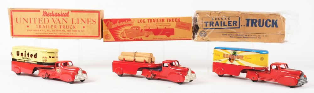 Lot 2435: Lot of 3: Pressed Steel Marx Tractor-Trailer Trucks.