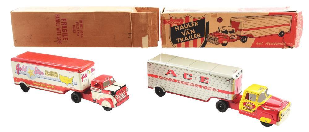 Lot 2437: Lot of 2: Marx Tin-Litho & Pressed Steel Hauler Van Trailer Trucks.