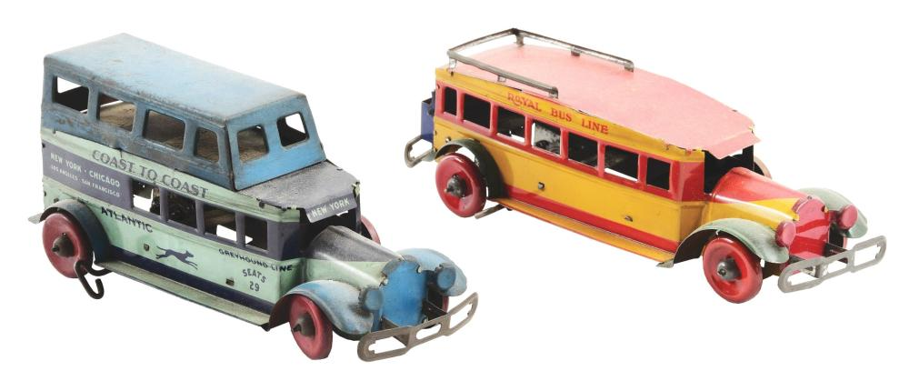 Lot 2441: Lot of 2: Pre-War Marx Tin-Litho Wind-Up Bus Toys.