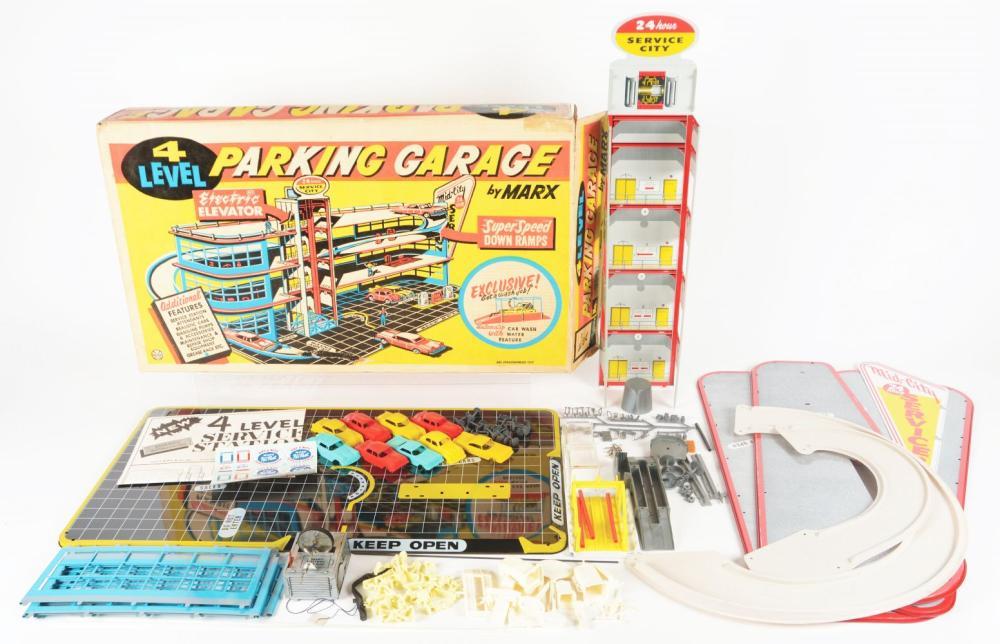 Lot 2445: Lot of 2: Marx Parking Garage & Service Center Play Sets.