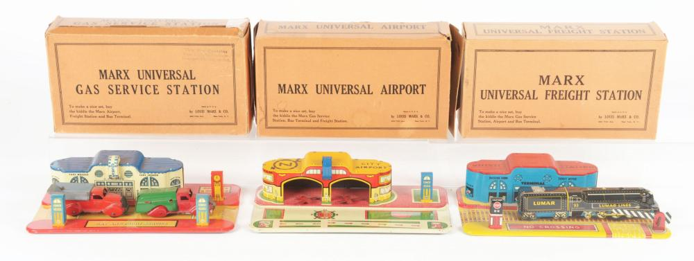 Lot 2443: Lot of 3: Marx Tin-Litho Station Sets.