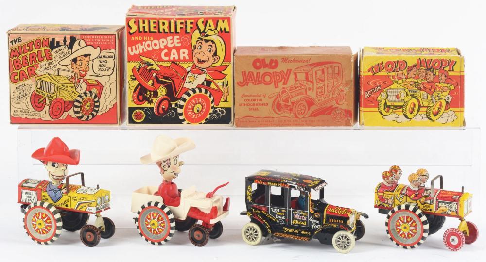 Lot 2448: Lot of 4: Marx Tin-Litho & Plastic Transportation Toys.