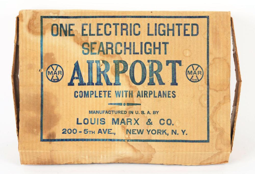 Lot 2453: Marx Pressed Steel & Tin-Litho Electric-Lighted Searchlight Airport Set with Original Box.