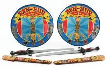 Lot 2456: Marx Tin-Litho Ben-Hur Sword, Scabbard & Shield Set.