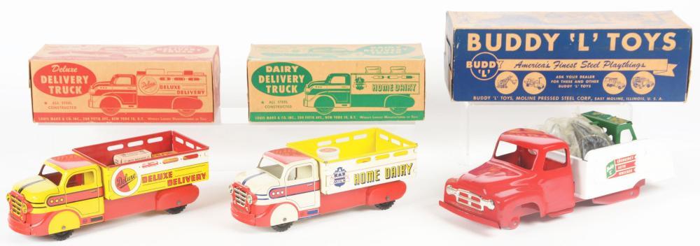 Lot 2451: Lot of 3: Buddy L & Marx Pressed Steel & Tin-Litho Toy Trucks.