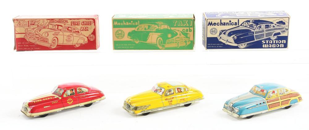 Lot 2455: Lot of 3: Marx Tin-Litho Wind-Up Automobile Toys.