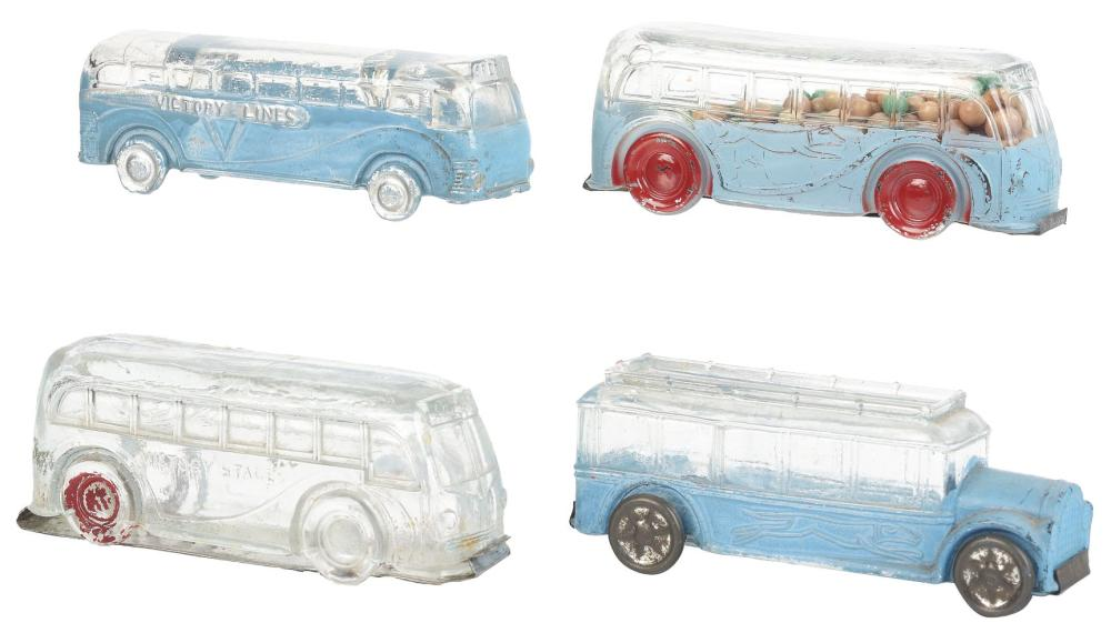 Lot 2482: Lot of 4: Bus Candy Containers.