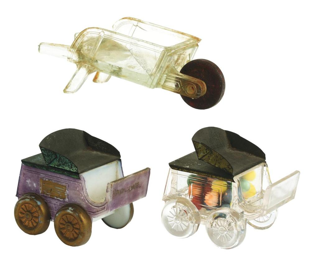 Lot 2481: Lot of 3: Wagon Candy Containers.