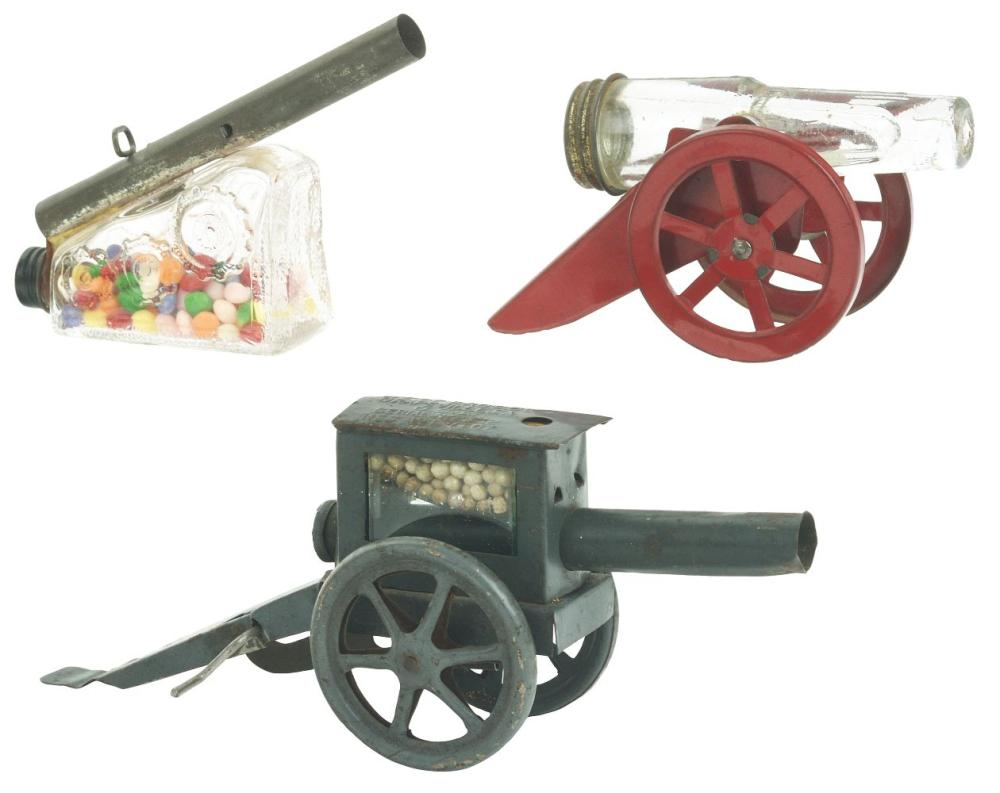 Lot 2501: Lot of 3: Cannon Candy Containers.