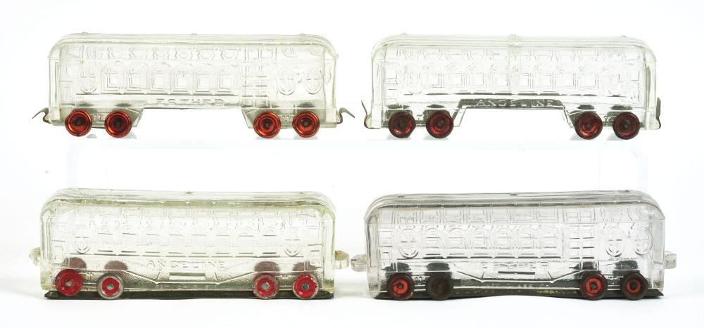 Lot 2496: Lot of 4: Train Car Candy Containers.