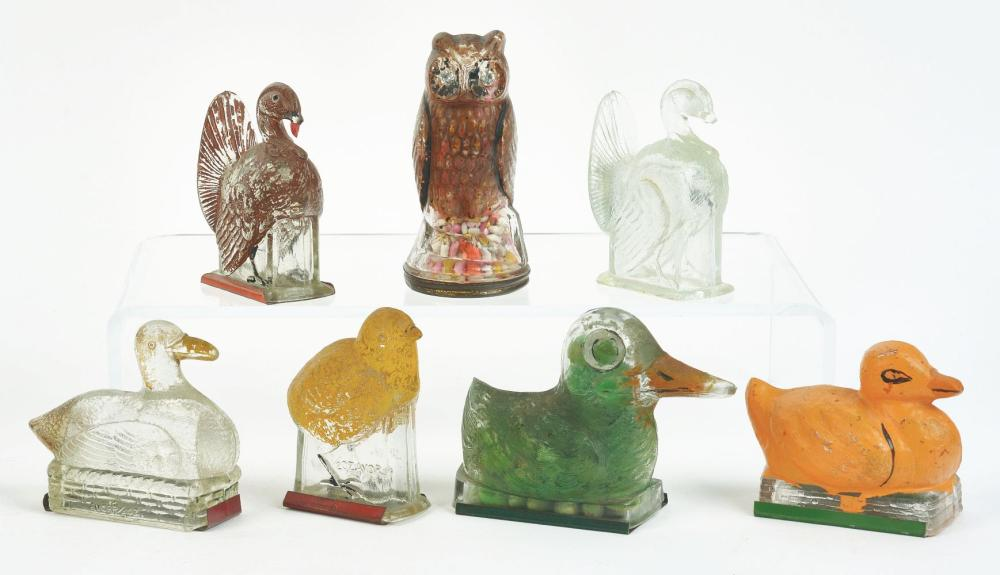 Lot 2511: Lot of 7: Bird Candy Containers.