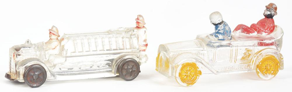 Lot 2521: Lot of 2: Car & Fire Truck Candy Containers.
