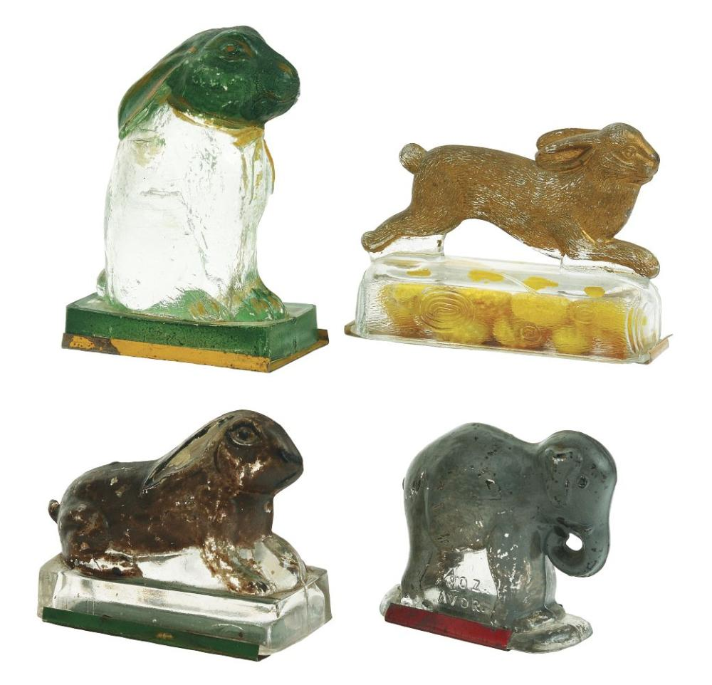 Lot 2524: Lot of 4: Animal Candy Containers - 3 Rabbits, 1 Elephant.