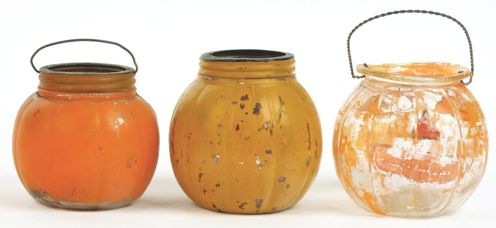 Lot 2556: Lot of 3: Jack-O-Lantern Candy Containers.