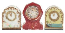 Lot 2560: Lot of 3: Clock Candy Containers.