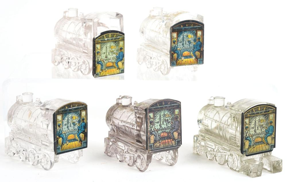 Lot 2562: Lot of 5: Locomotive Candy Containers.