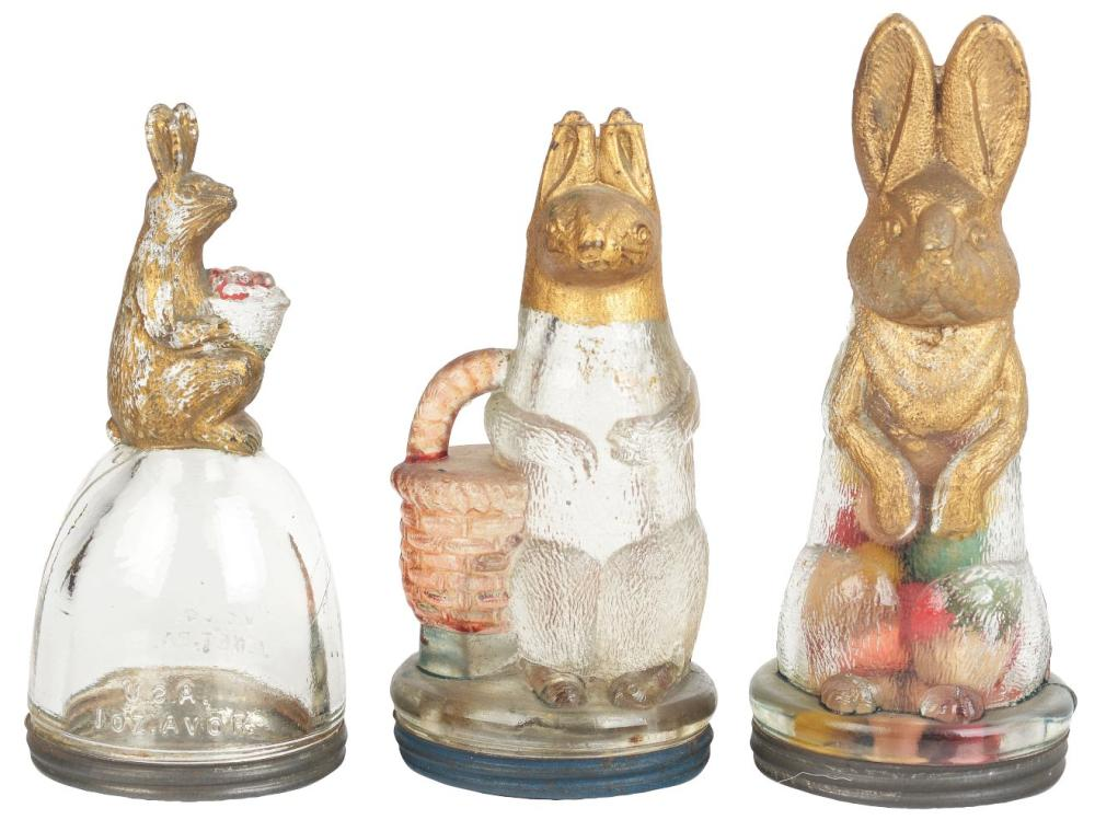 Lot 2563: Lot of 3: Rabbit Candy Containers.