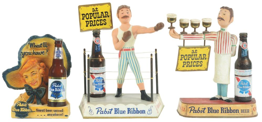 Lot 2600: Lot of 3: Pabst Blue Ribbon Advertising Figures.