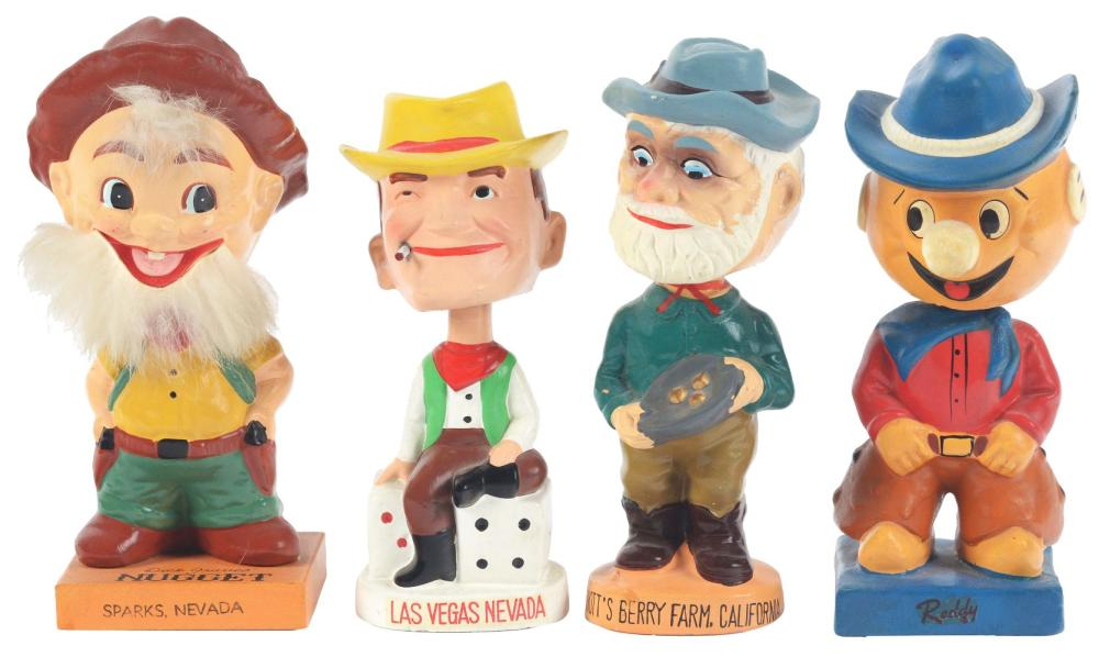 Lot 2608: Lot of 4: Nodding Advertising Figures - Nugget, Reddy, Knott's, Cowboy.
