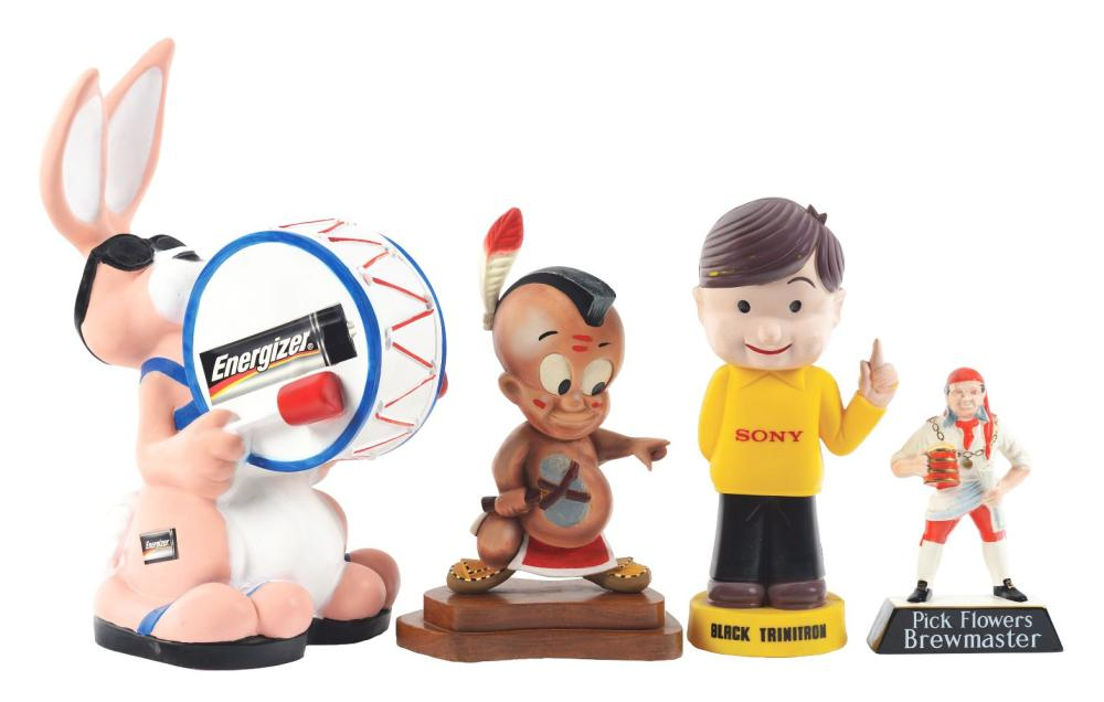 Lot 2615: Lot of 4: Advertising Figures - Energizer Bunny, Sony Boy, Pick Flowers. Brewing, Tommy Mohawk.